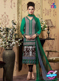 AZ 2340 Green and Brown Crepe Pakistani Suit