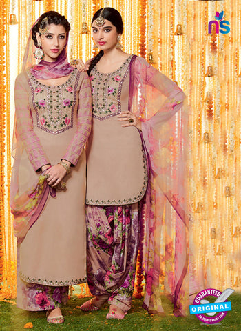 Heer 6607 Beige and Purple Cotton Satin Patiala Suit
