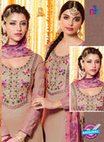 Heer 6607 Beige and Purple Cotton Satin Patiala Suit Online