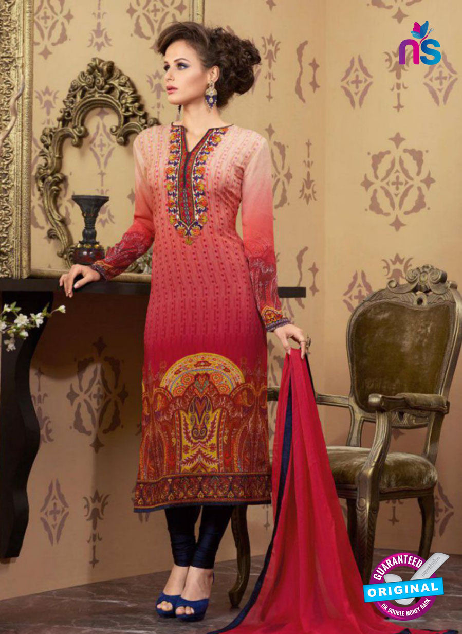 AZ 2341 Red and Blue Crepe Pakistani Suit