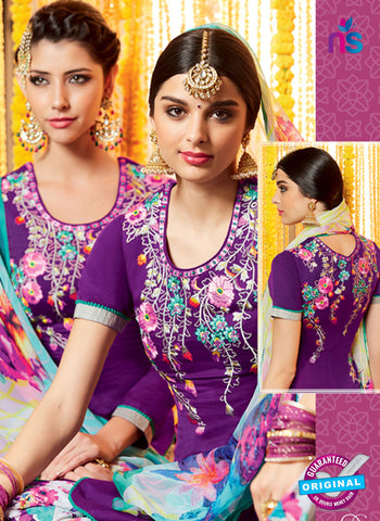 Heer 6608 Purple and Multicolor Cotton Satin Patiala Suit