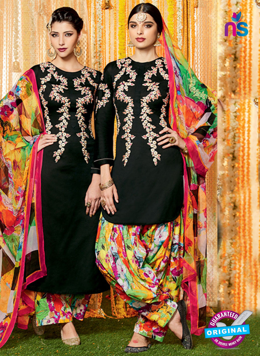Heer 6609 Black and Multicolor Cotton Satin Patiala Suit