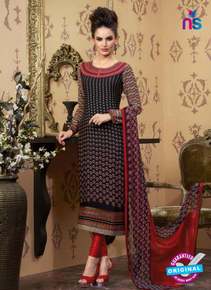 AZ 2342 Black and Maroon Crepe Pakistani Suit