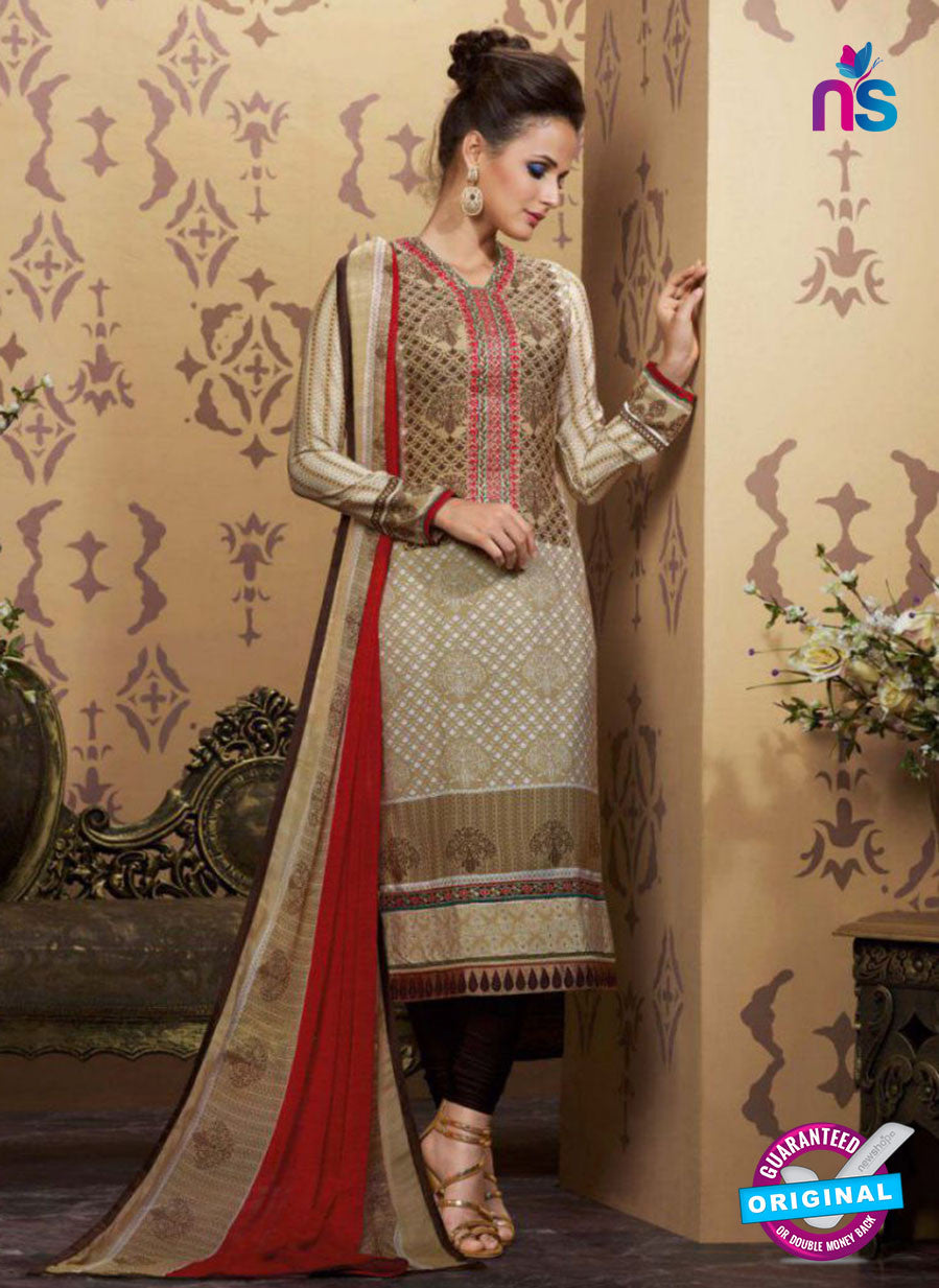 AZ 2343 Beige and Brown Crepe Pakistani Suit
