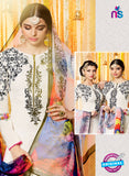 Heer 6610 White and Multicolor Cotton Satin Patiala Suit Online