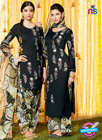 Heer 6611 Black and Multicolor Cotton Satin Patiala Suit