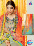 Heer 6612 Grey and Orange Cotton Satin Patiala Suit Online