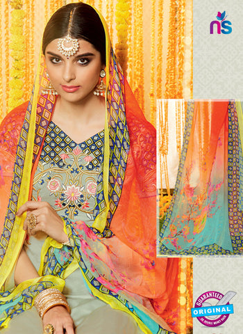 Heer 6612 Grey and Orange Cotton Satin Patiala Suit