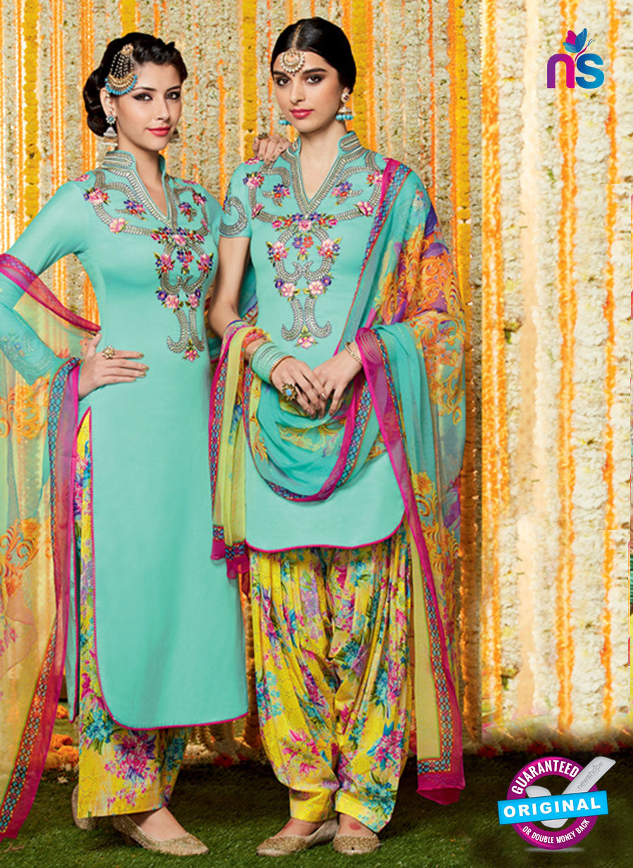 Heer 6613 Sea Green and Yellow Cotton Satin Patiala Suit