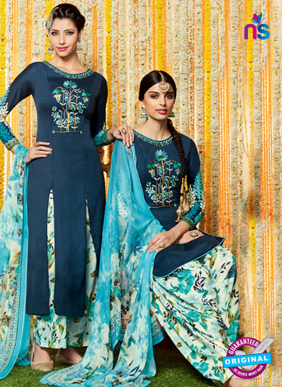 Heer 6614 Dark Blue Cotton Satin Patiala Suit