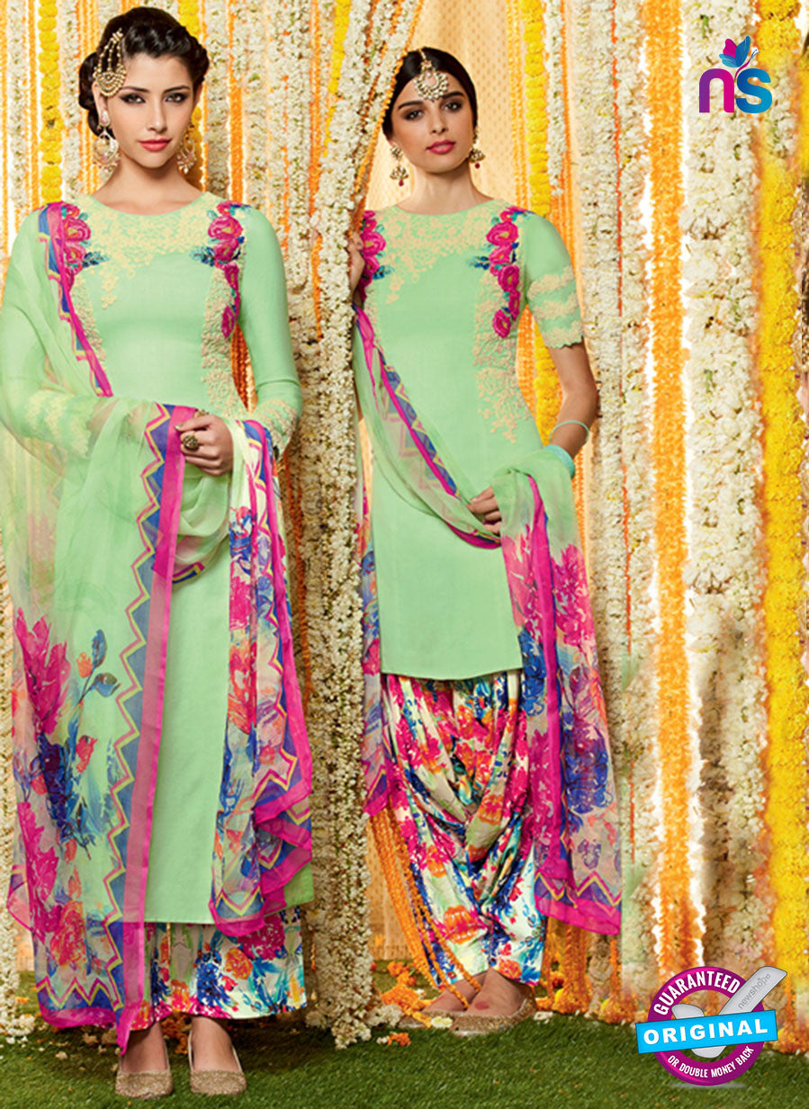 Heer 6615 Green and Multicolor Cotton Satin Patiala Suit