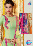 Heer 6615 Green and Multicolor Cotton Satin Patiala Suit Online