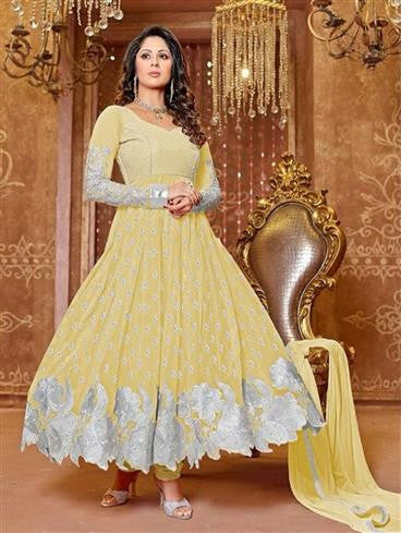 NS11656 Yellow Georgette Anarkali Suit