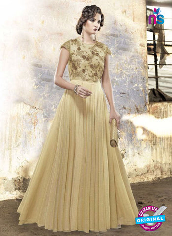 AZ 2309 Beige Embroidery Silk Fancy Party Wear Gown