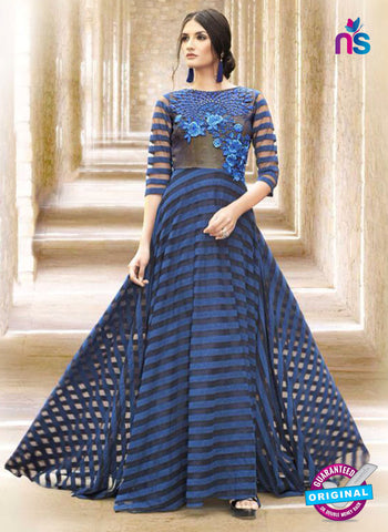 AZ 2310 Blue Embroidery Satin Fancy Party Wear Gown
