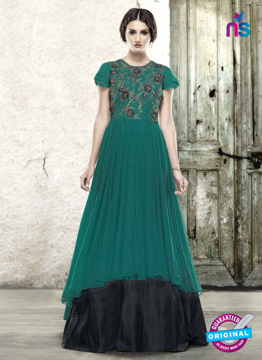 AZ 2311 Sea Green and Black Embroidery Net Fancy Party Wear Gawn