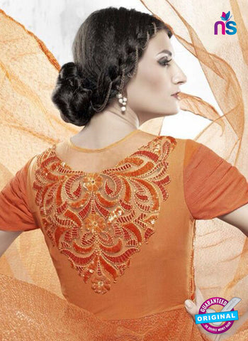 AZ 2312 Orange Embroidery Net Fancy Party Wear Gown