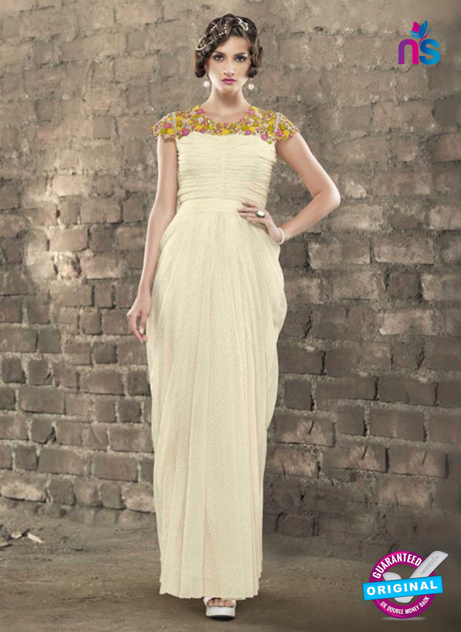 AZ 2315 Beige Embroidery Jacquard Fancy Party Wear Gawn