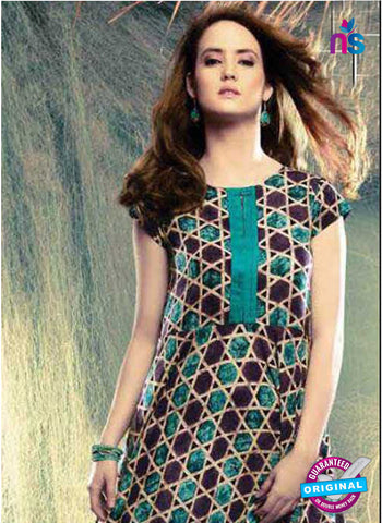 SC 42671 Brown and Green Designer Tunic