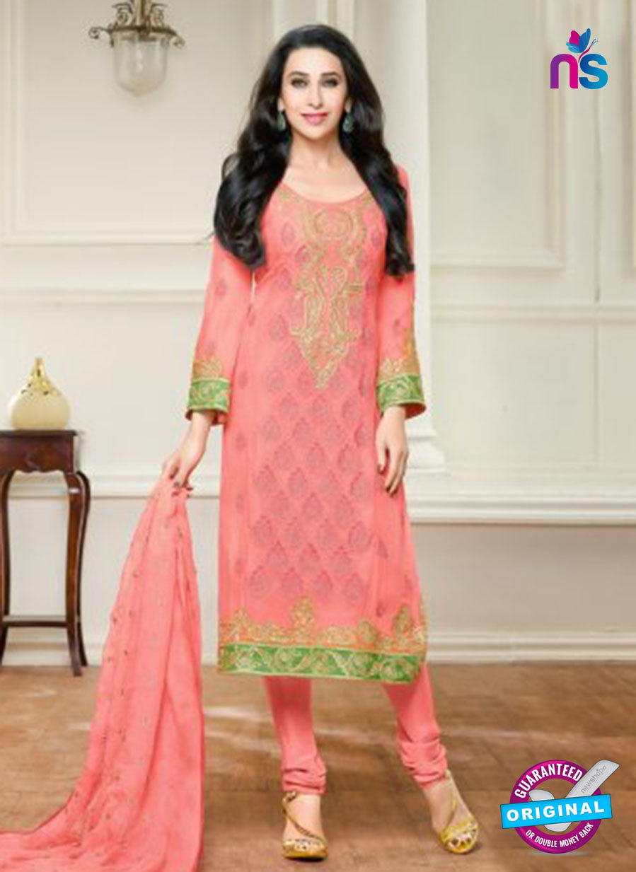 NS10456 Peach Party Wear faux Georgette Straight Suit