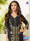 NS10457 Black and Pink Party Wear faux Georgette Straight Suit