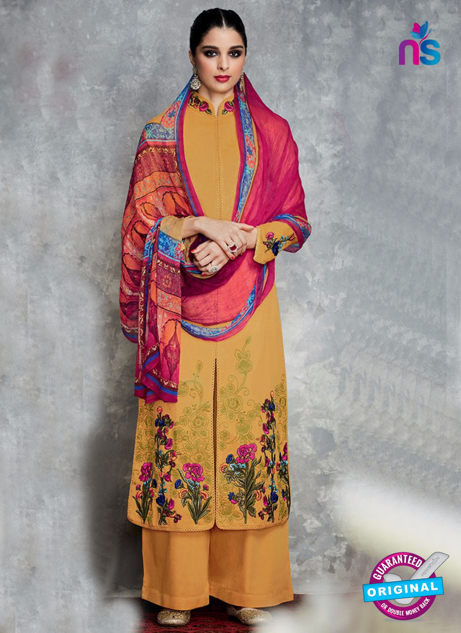 Heer 6701 Yellow Cotton Satin Pakistani Suit