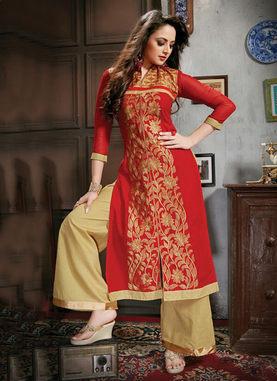 NS11776  Red and Beige Cotton Straight Suit