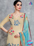 Heer 6702 Beige Cotton Satin Pakistani Suit Online