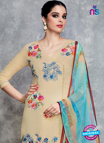 Heer 6702 Beige Cotton Satin Pakistani Suit
