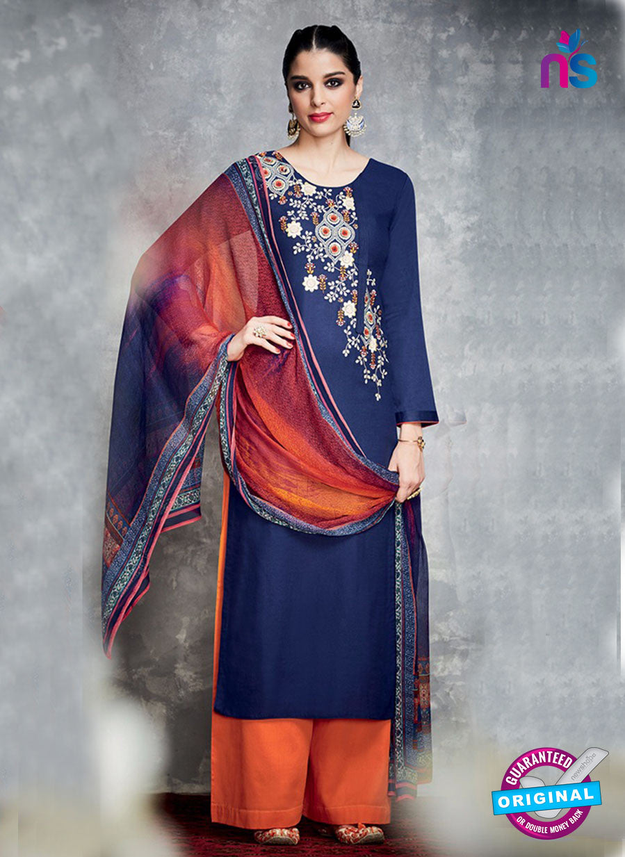 Heer 6703 Blue Cotton Satin Pakistani Suit