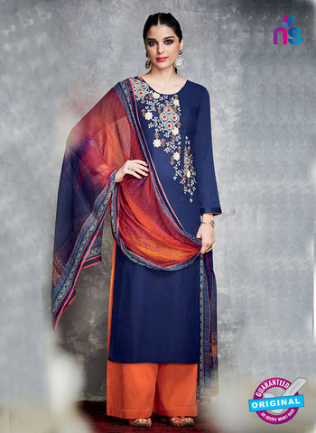 Blue Cotton Satin Pakistani Suit
