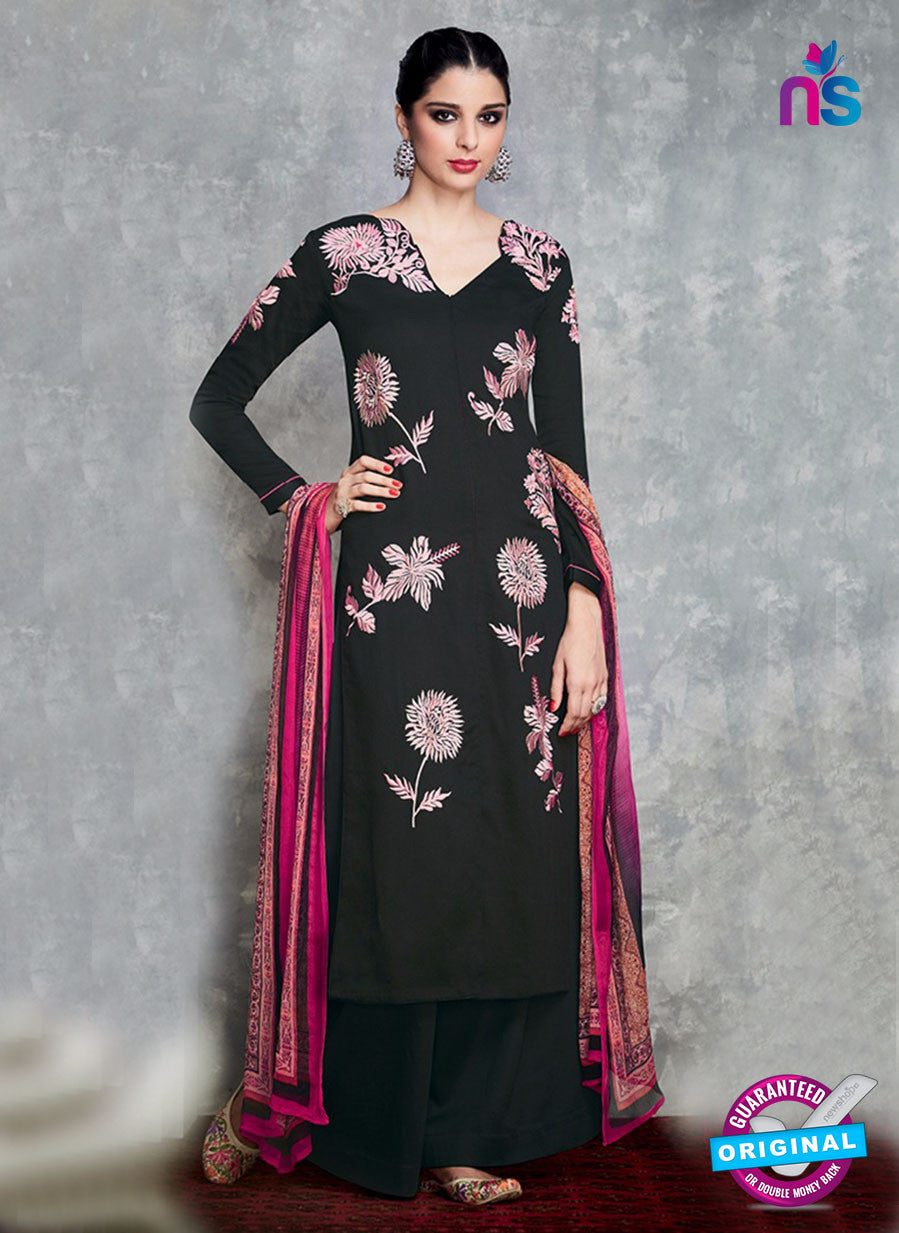 Heer 6704 Black Cotton Satin Pakistani Suit