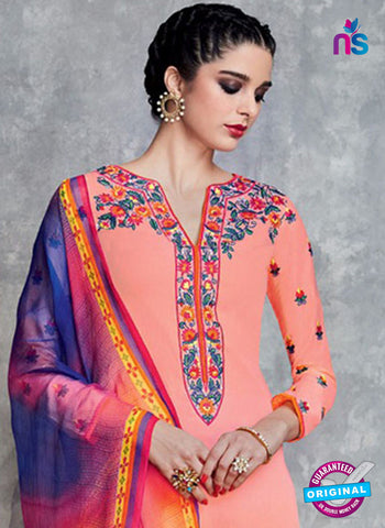 Heer 6705 Peach Cotton Satin Pakistani Suit