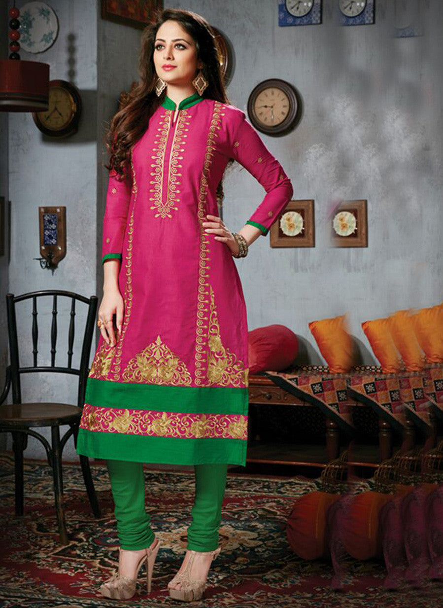 NS11778  Magenta and Green Cotton Straight Suit