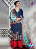 Heer 6707 Blue Cotton Satin Pakistani Suit