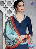 Heer 6707 Blue Cotton Satin Pakistani Suit Online