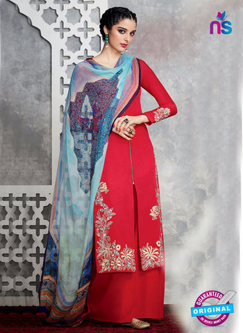 Heer 6708 Red Cotton Satin Pakistani Suit