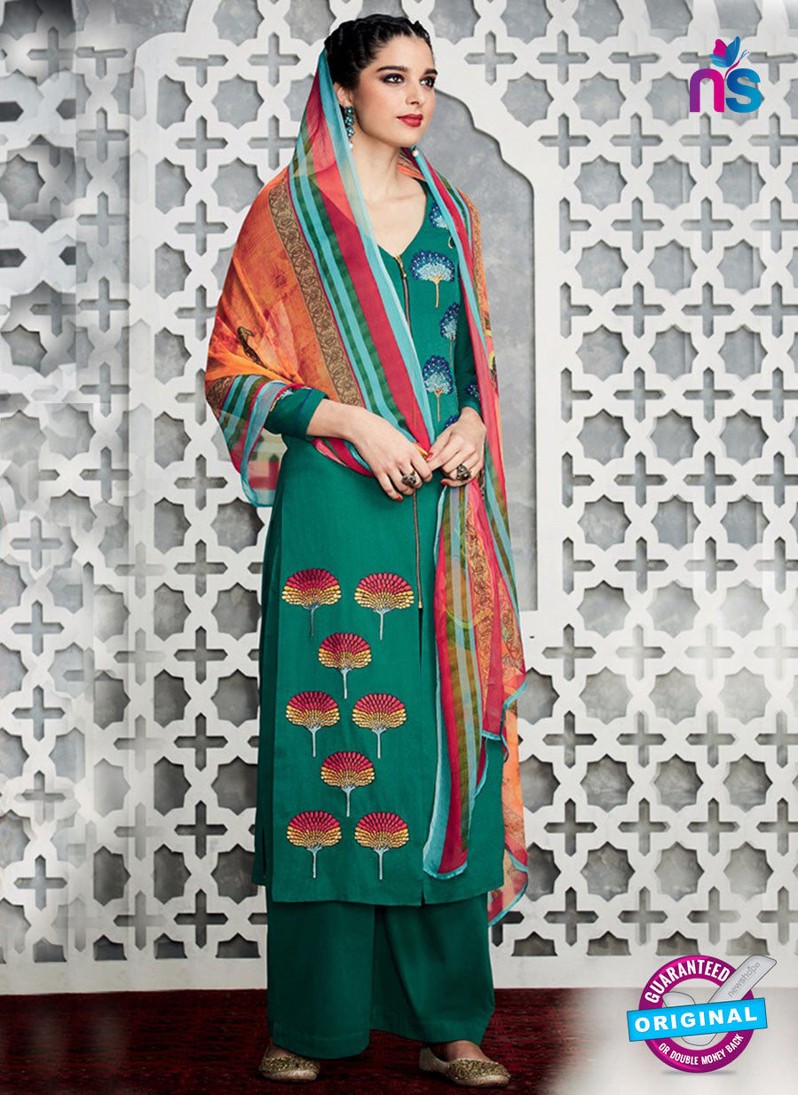 Heer 6709 Green Cotton Satin Pakistani Suit