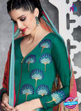Heer 6709 Green Cotton Satin Pakistani Suit Online