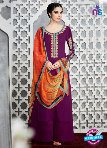 Purple Cotton Satin Pakistani Suit