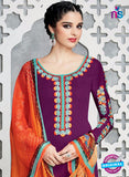 Heer 6710 Purple Cotton Satin Pakistani Suit Online
