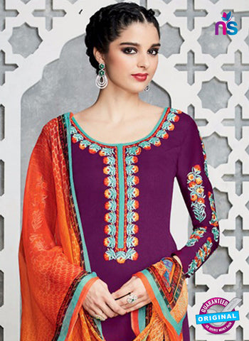 heer 6710 Purple Cotton Satin Pakistani Suit