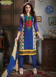 NS11779  Multicolor and Royal Blue Cotton Straight Suit