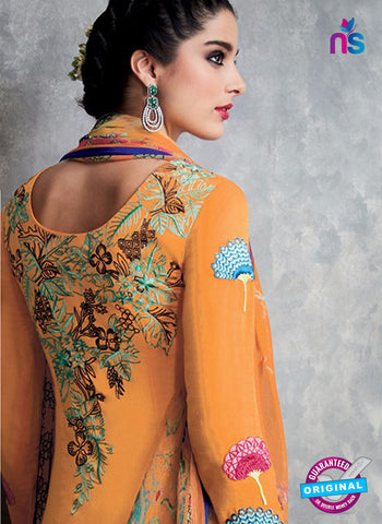 Heer 6711 Orange Cotton Satin Pakistani Suit