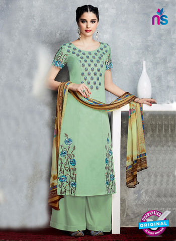 Green Cotton Satin Pakistani Suit