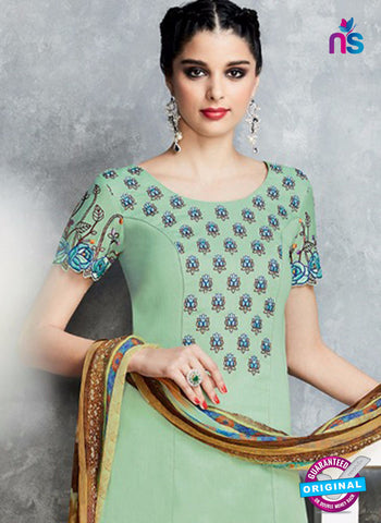 buy Green Cotton Satin Pakistani Suit Online