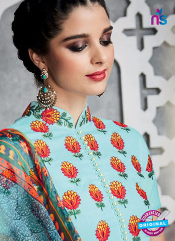Heer 6714 Sky Blue Cotton Satin Pakistani Suit