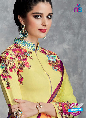 Yellow Cotton Satin Pakistani Suit Online
