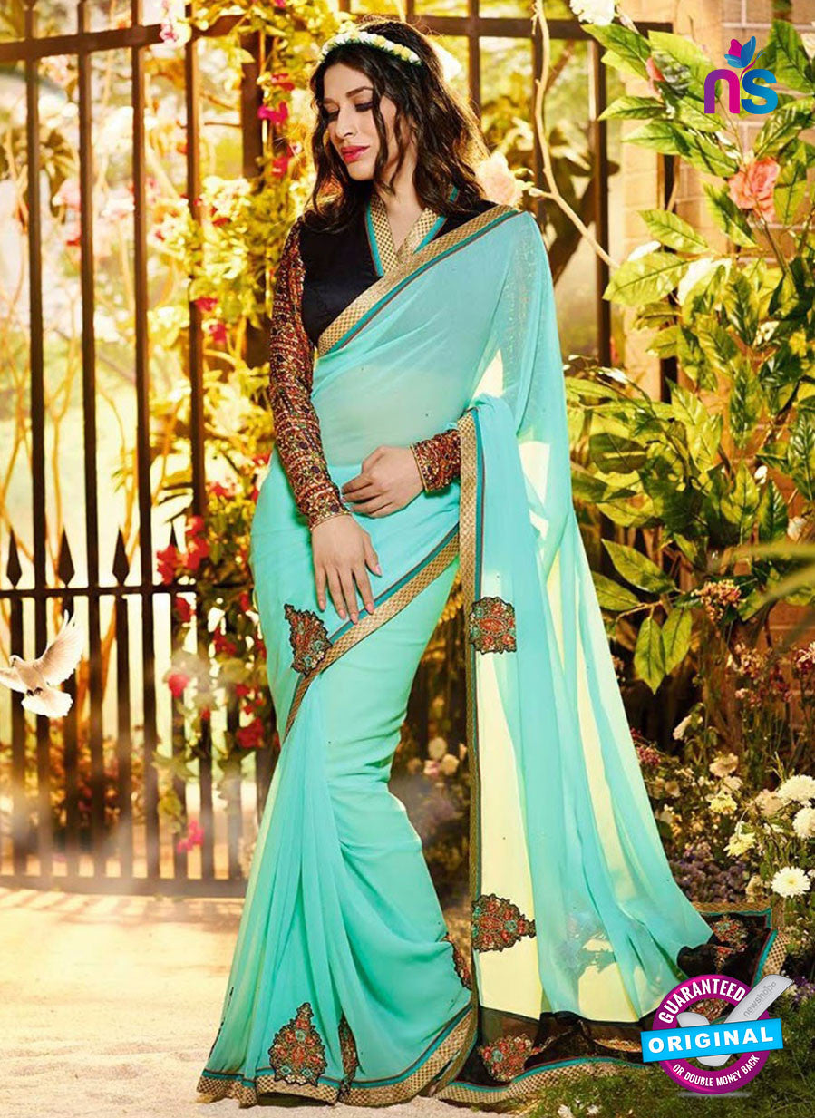 SC 12335 Sea Green and Black Wedding Wear Georgette Saree