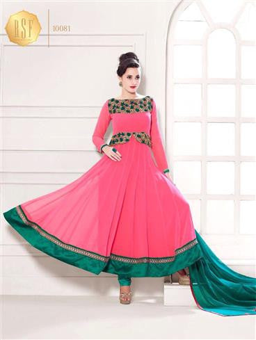 NS11908  Bright Pink and Sea Green Georgette Anarkali Suit